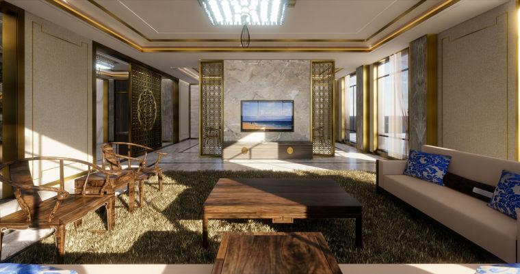 怡景花园别墅豪华中式室内设计模型