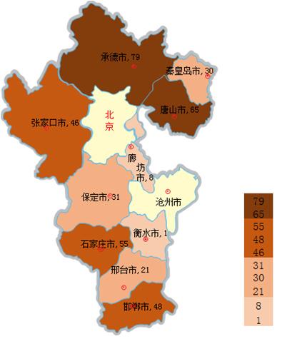 主要分布在承德市,邯郸市