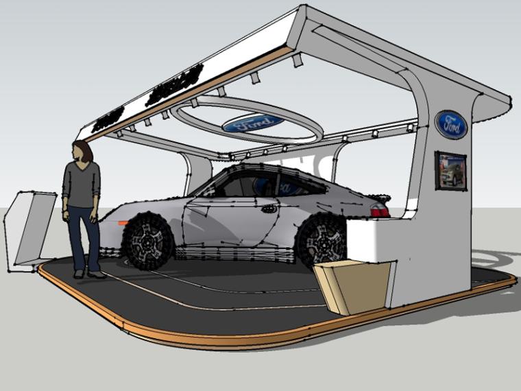 汽车展台SketchUp模型下载_3