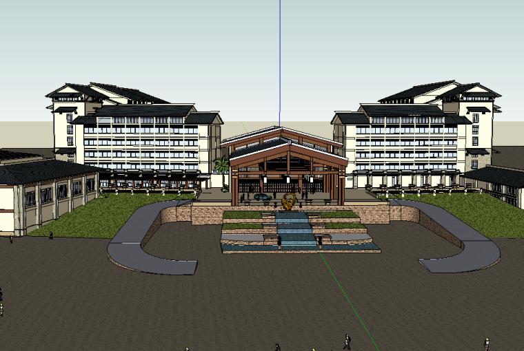 东南亚风格酒店建筑模型