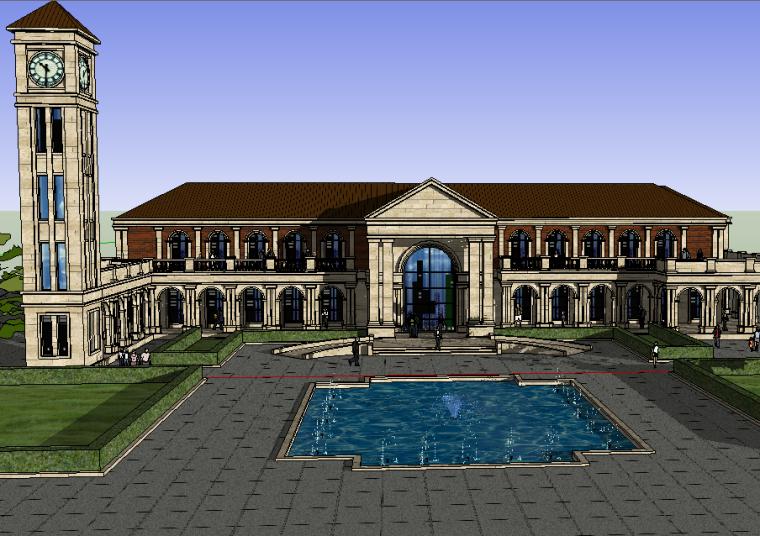 新古典建筑风格建筑模型设计