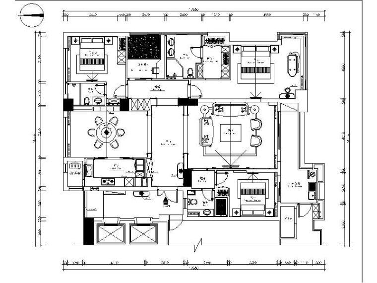 [温州]浪漫美式三居室设计施工图(含效果图)