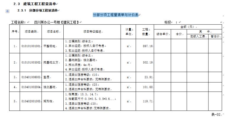 某办公楼工程造价工程量清单编制-分部分项工程量清单与计价表