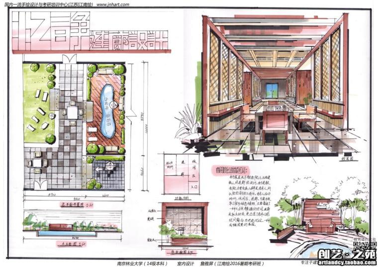 [室内快题设计]老年人活动中心、社区休闲中心高清手绘图