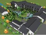 中式风格培训中心院落与景观设计sketchup模型
