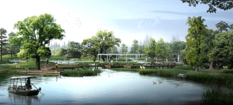 [上海]奉贤生态农庄旅游、休闲总体规划设计PDF(57页)-湿地效果图
