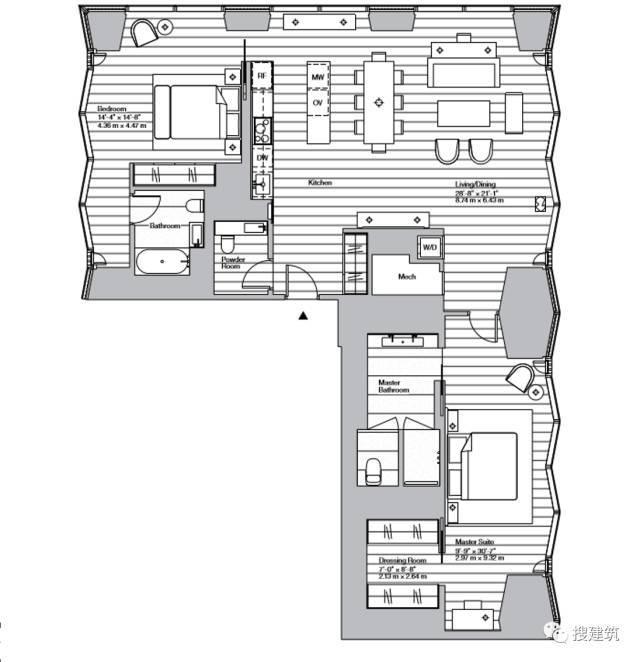 """万科200米高、61层的""""新地标住宅"""",1000-1600平方英尺的户型设_18"""