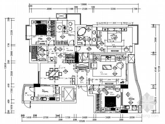 [浙江]精品高尚居住宝地现代风格四居室室内装修施工图
