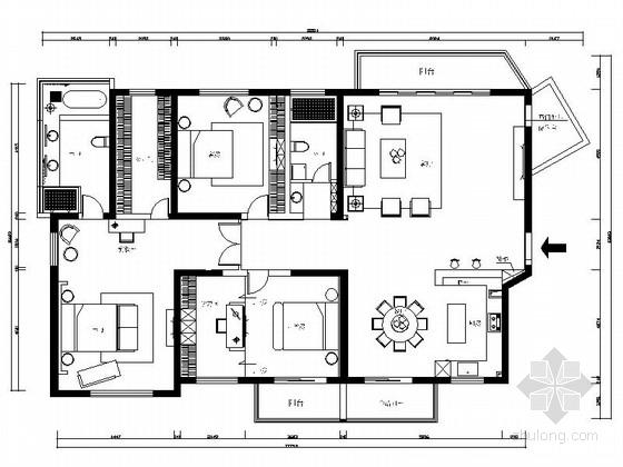 雅致简约现代三居室样板间CAD装修施工图(含效果)