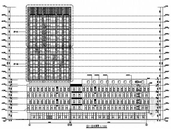 [江苏]17层剪力墙结构产业园办公楼幕墙图纸(玻璃 石材 铝板幕墙)