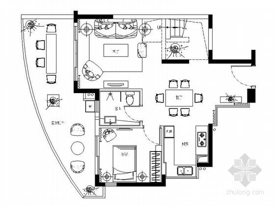 [深圳]普通公寓区东南亚风格复式装修施工图(含材料表)