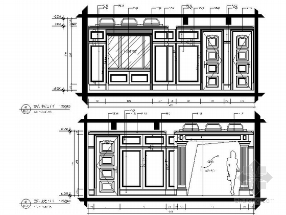 美式风格三居室设计装修图(含效果)餐厅过道立面图