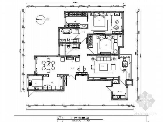 [原创]现代禅意风格两室一厅住宅CAD施工图(2016年新作含效果图)