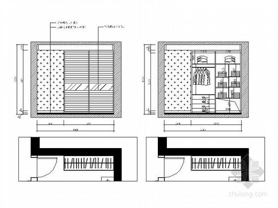 [杭州]现代简约风格两居室装修施工图(含效果图) 立面图