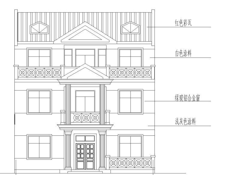 砖混结构户型为3层新农村独栋别墅施工图设计(CAD+效果图)