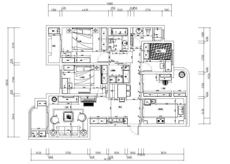 四室两厅室内施工图设计(现代田园风格)