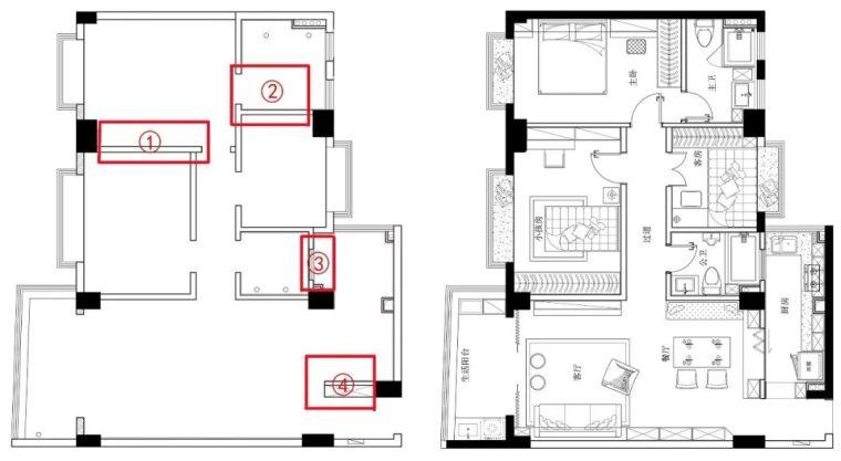 104m²现代简约三居室,改几堵墙就让房子实用多了