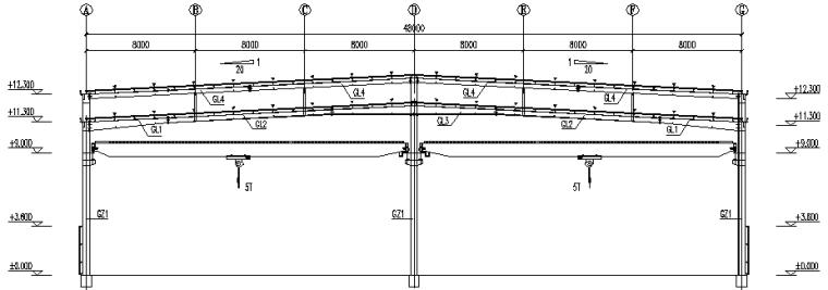 湖北门式刚架钢结构厂房施工图(CAD,12张)_5