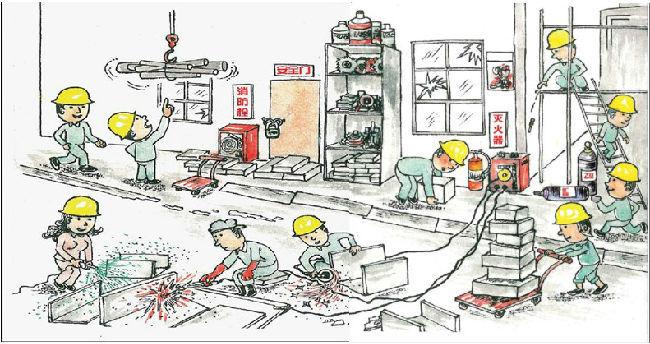一幅施工漫画,看出47个安全问题才算牛!