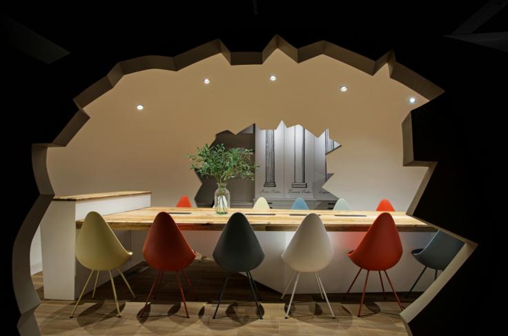现代风格小巨蛋办公室设计CAD施工图(含实景图)_7
