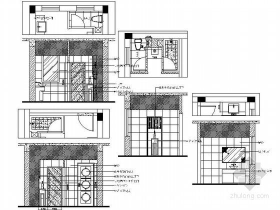 现代中式风格别墅客卫立面图
