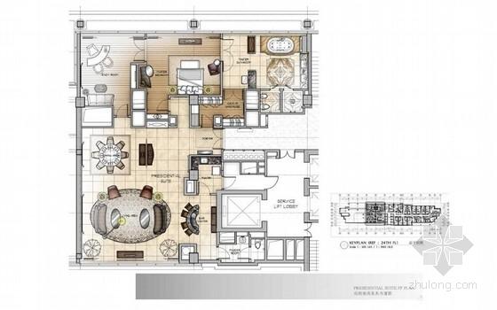 [北京]中关村五星级豪华酒店总统套房室内装修方案