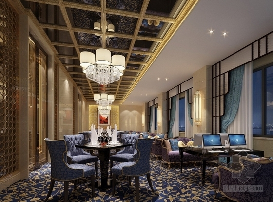 [江苏]气势恢宏旅游休闲花园式酒店附楼室内装修施工图(含效果)小餐厅效果图