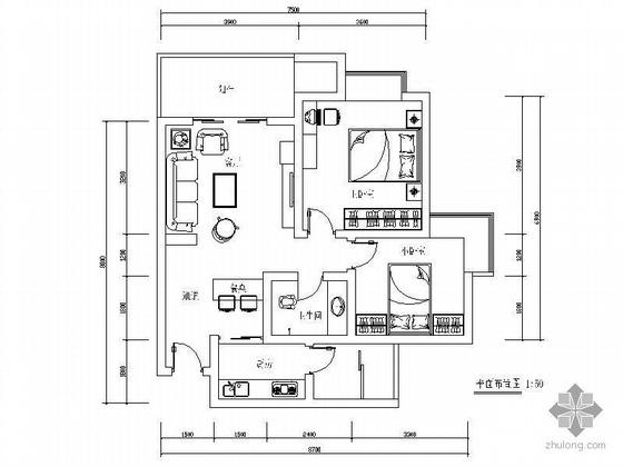 70平米两室一厅精装修图