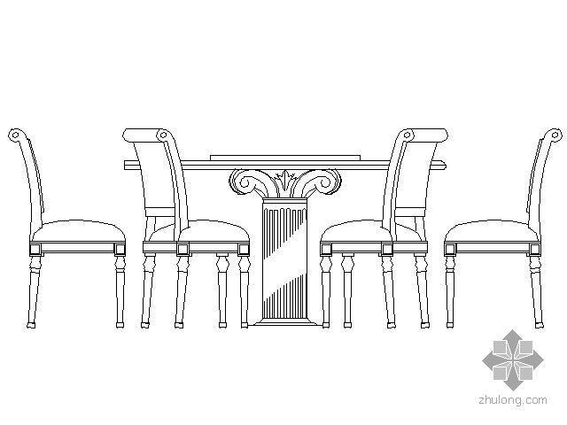 餐桌平立面圖塊集