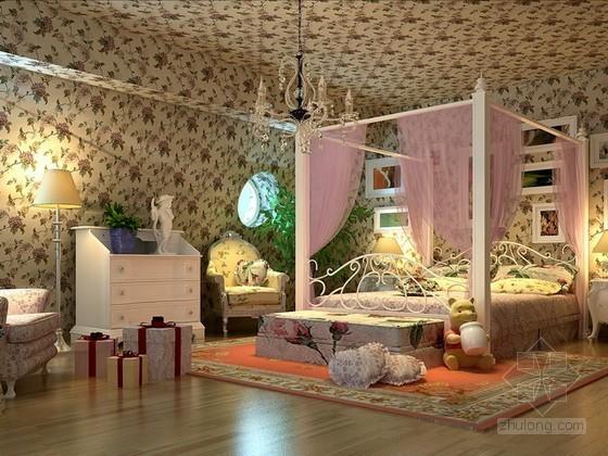 田园风格儿童卧室3d模型下载