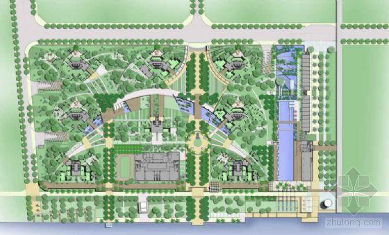 曲轴线透视效果草图,幼儿园平面,住户入口景观设计意向,小区围栏处理图片