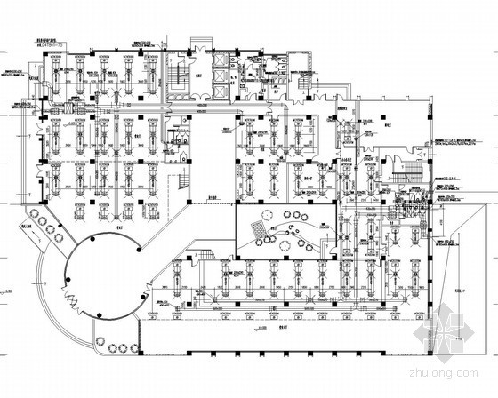 高层办公楼建筑空调通风防排烟系统设计施工图(设计美观)