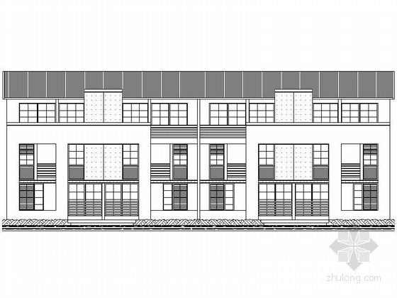 [深圳]某二层四联排徽式别墅(B型)建筑方案图