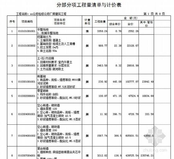 [山东]2013年电力公司厂房建筑工程量清单报价(附图纸)