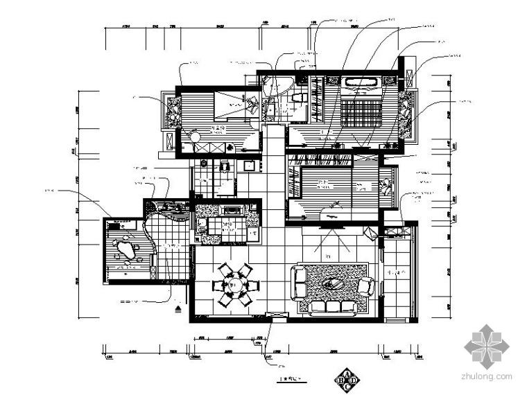 现代三室二厅室内装饰施工图