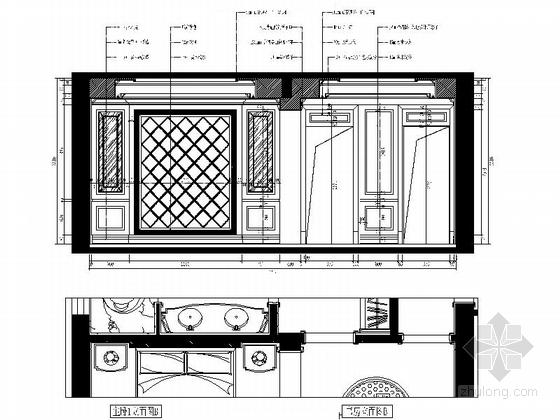 城市中心欧式风格六居室样板房装修图(含效果)主卧立面图