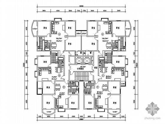 塔式高层一梯六户型图(137/108/93/90/70)