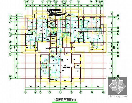 [全套]湖南保障房项目消防工程量清单控制价编制实例(含招标文件施工图纸300张标底)-2号楼一层照明平面图