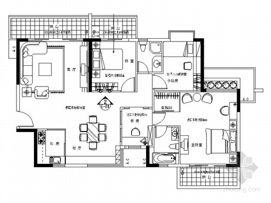 某简约派三室二厅室内装修图
