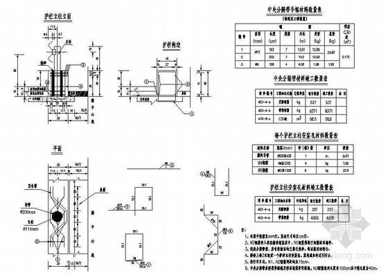 预应力钢筋混凝土T梁波形梁护栏构造节点详图设计
