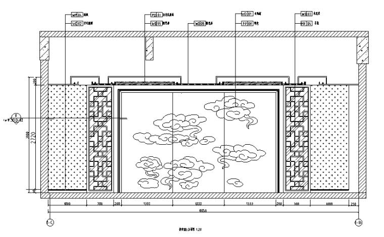 [山东]青岛温泉酒店全套施工图(附效果图)-接待室立面图