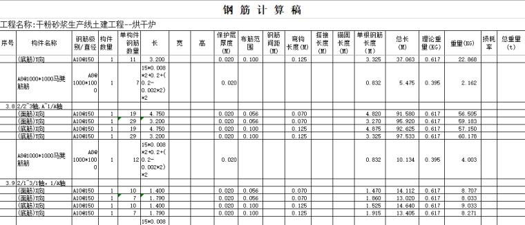 工程量全套自动计算表格及实例