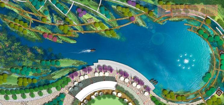 3套公园景观彩色平面图PSD分层素材