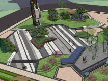现代城市街角_公园景观设计SU模型