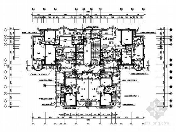 某经典一梯四户型平面图(总建筑面积517平方米)
