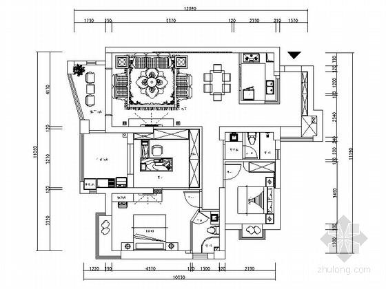 [江西]奢華歐式風格兩室一廳家居CAD施工圖(含效果圖)