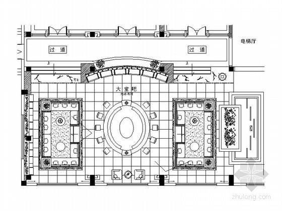 [嘉兴]休闲会所中式风格大堂吧室内施工图(含效果图)