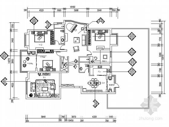 [独创]地中海风情三居室设计装修CAD施工图