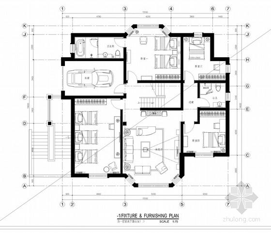 [深圳]知名设计院设计高档简欧风格别墅设计施工图(含效果图)