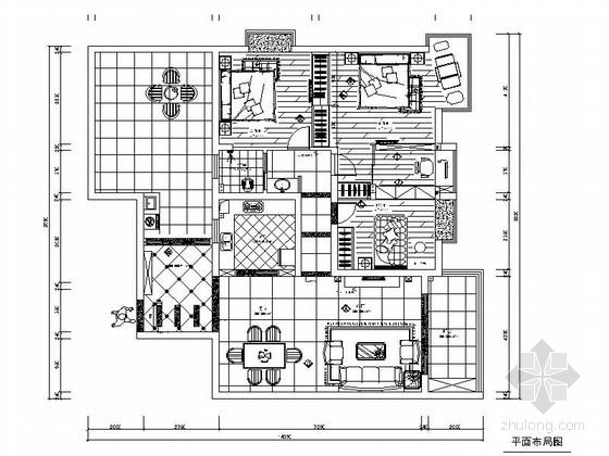 典雅简欧风格三居室样板间CAD装修施工图(含效果)